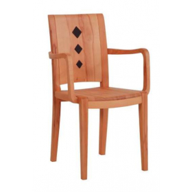 DKK Die Klose Kollektion Sessel S4 Holzsitz, Holzrücken mit Applikationen in Leder