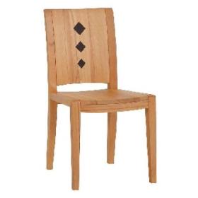 DKK Die Klose Kollektion Stuhl S4 Holzsitz, Holzrücken mit Applikationen in Leder